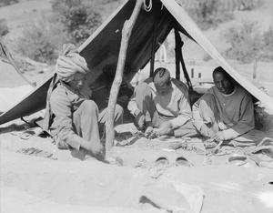Indian harness makers at work in camp, Salonika, September, 1916.