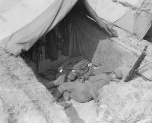 Troops sleeping at the entrance to their tent, Salonika, April 1916. BRITISH FORCES IN THE SALONIKA CAMPAIGN 1915-1918