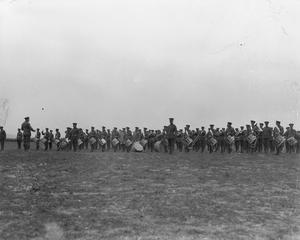 Bands of the British 28th Division playing at a divisional review attended by General Maurice Sarrail and Lieutenant General Sir Bryan Mahon near Salonika, April 1916.