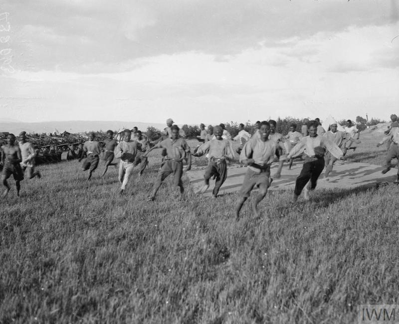 Indian troops racing.