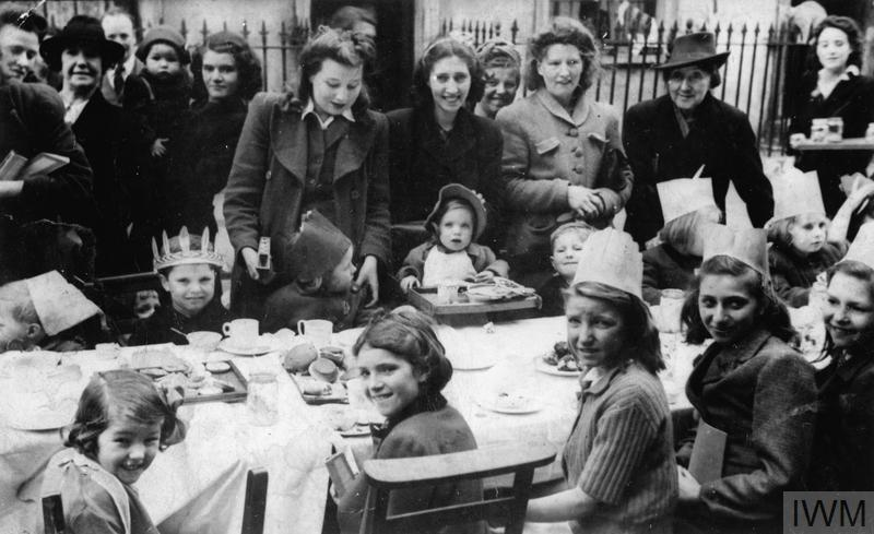 Women and children at a VE-Day street party in Stanhope Street, London NW1.