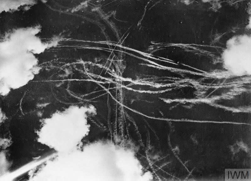 Contrails left by British and German aircraft after a dogfight during the Battle of Britain, September 1940.