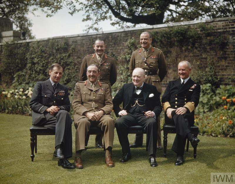Winston Churchill with his chiefs of staff in the garden of No. 10 Downing Street on the day Germany surrendered to the Allies.