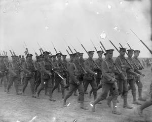 The 3rd Battalion, Middlesex Regiment, from 85th Brigade, 28th Division marching past General Maurice Sarrail and other senior French and British officers during a divisional review near Salonika in April 1916. THE SALONIKA CAMPAIGN 1915-1918