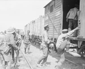 Bulgarian prisoners entraining at a railhead. Balkan Front, August, 1916.
