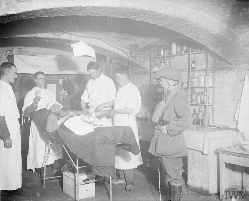 Medical series. Interior of an advanced dressing station, Operating Theatre.