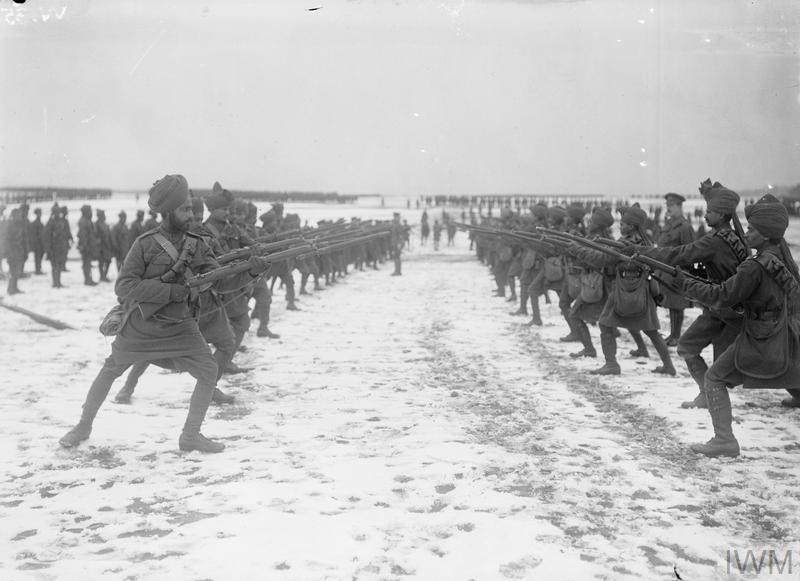 On the training ground. Indian troops at bayonet exercise.