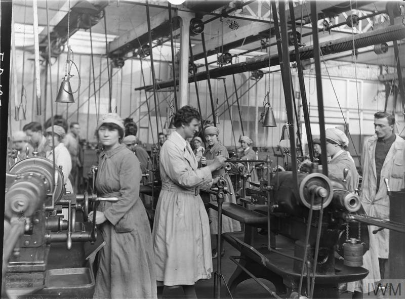 Members of Queen Mary's Army Auxiliray Corps (QMAAC) machine room that formed part of the RAF engine repair shops at Pont de l'Arche.