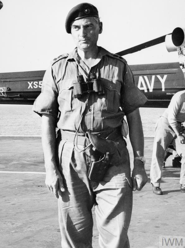 Often credited as being the last British serviceman to leave Aden, Lieutenant Colonel 'Dai' Morgan, Commanding Officer of 42 Royal Marine Commando, arrives on board HMS ALBION by Wasp helicopter shortly after 3pm on 29 November 1967.