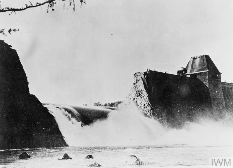 The breach in the Mohne Dam four hours after the Dambusters raid.