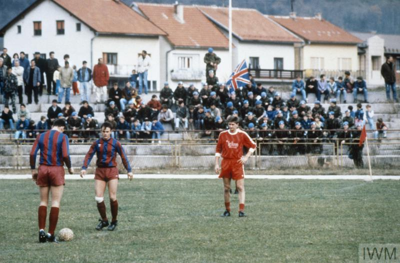 A football match between 1 Cheshire Regiment and the local Croat population of Dolac near Travnik, 13 December 1992. The Dolac team won the match 4-3.