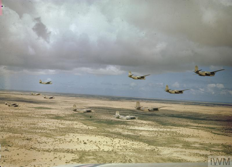 A formation of No 24 Squadron, South African Air Force Douglas Boston aircraft flying over Tunisia.