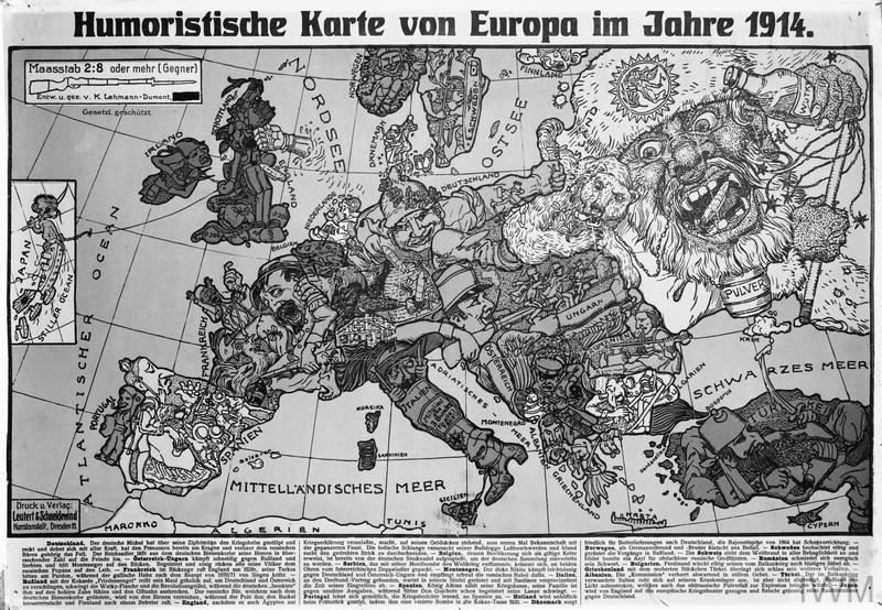 Humoristische Karte Von Europa 1914.Humoristische Karte Von Europa Im Jahre 1914 Imperial War