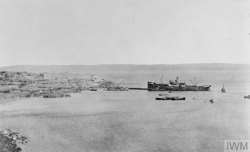 Scenes at the landing at 'V' Beach, Gallipoli.