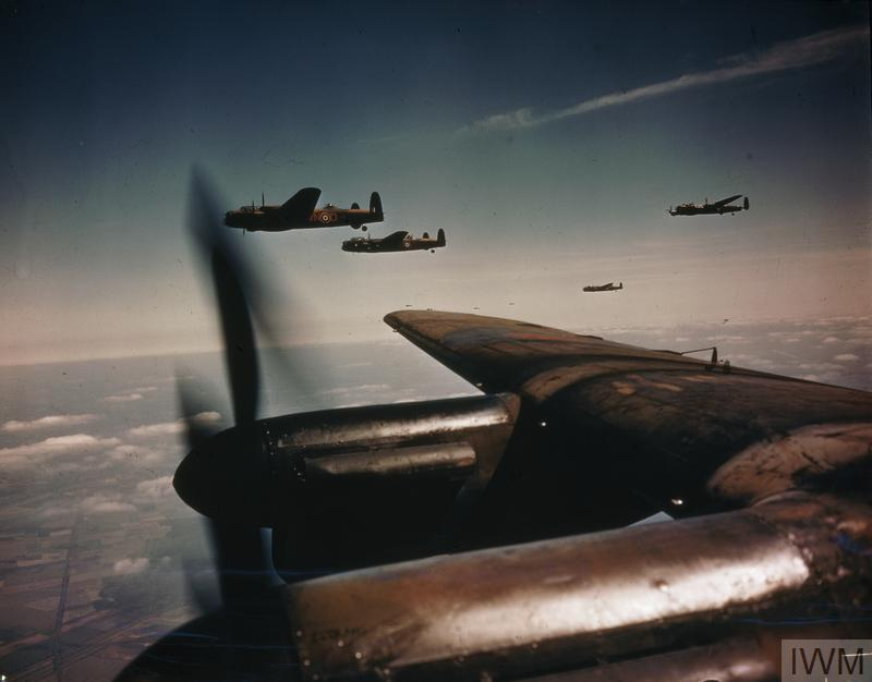 Lancaster B Mark Is of No 50 Squadron, Royal Air Force, based at Skellingthorpe, flying in spread formation.