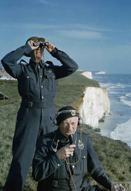 Two men of the Royal Observer Corps on a cliff top near Dover.