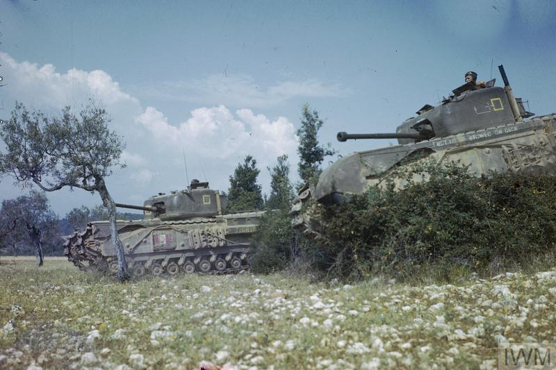 Churchill tanks of 'B' Squadron, 51st Royal Tank Regiment advancing across the Italian countryside.