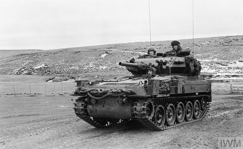 A FV101 Scorpion light tank of B Squadron, the Blues and Royals. With its very light footprint, the Scorpion was one of the few British vehicles capable of operating in the rough Falklands terrain.