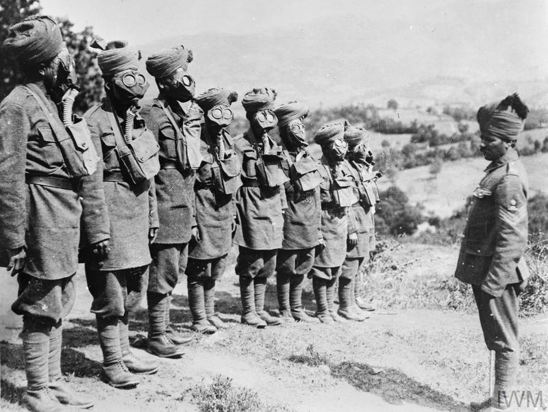 Indian troops at gas mask drill.