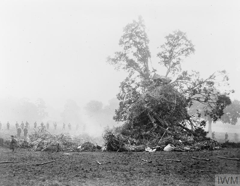 WRECKAGE OF GERMAN ZEPPELIN AIRSHIP L.31 BROUGHT DOWN AT POTTERS BAR