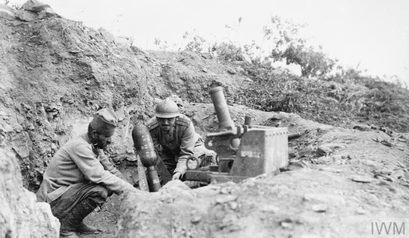 TRENCH MORTARS ON THE BALKAN FRONT DURING THE FIRST WORLD WAR