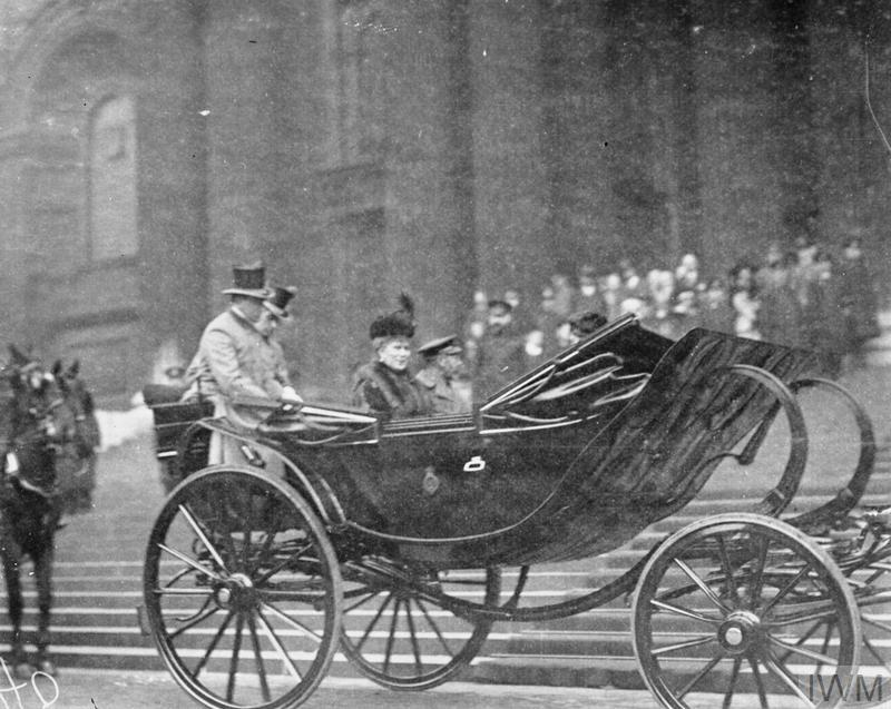 King George V and Queen Mary attending Thanksgiving service at St. Paul's Cathedral for Armistice