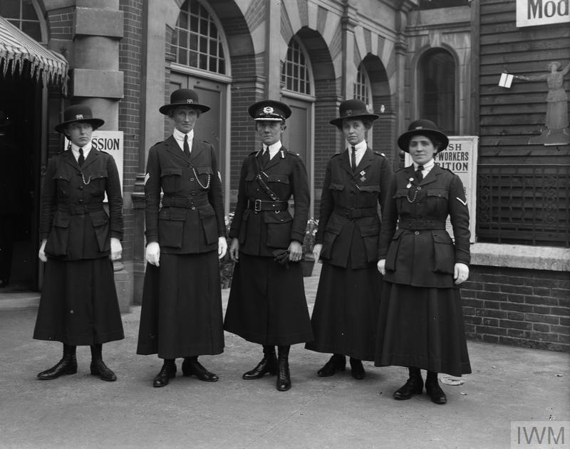 Officers of the Women Police Service led by Inspector Mary Allen, a former suffragette, maintain order at the Women's War Work Exhibition, Knightsbridge, London, May 1916