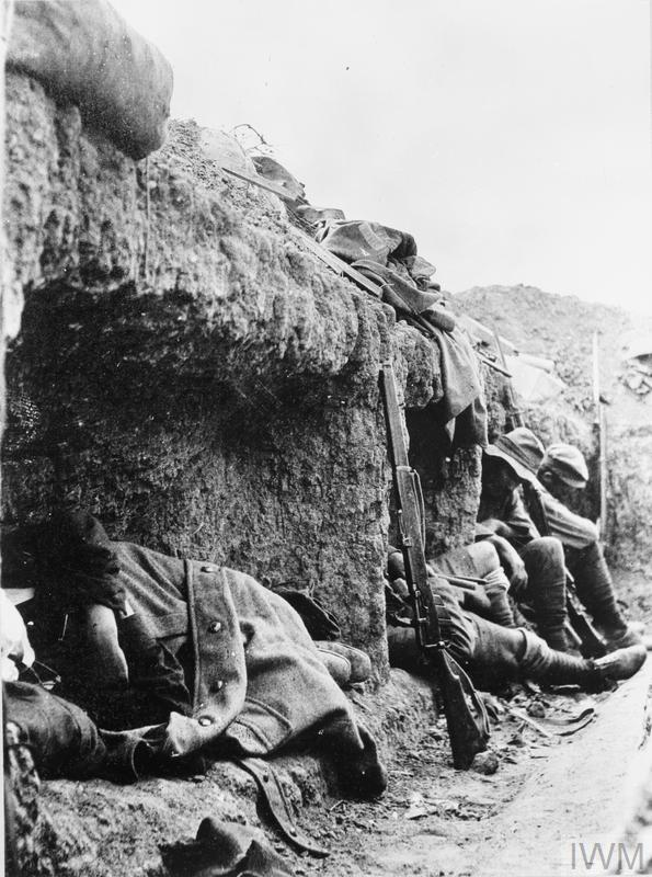 New Zealand soldiers resting in the trenches on Rhodedendron Spur, Gallipoli, a few weeks after it was taken.
