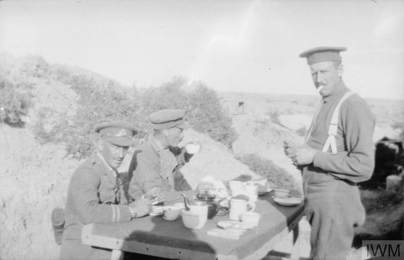 Officers of the Royal Naval Division enjoying a cup of tea at Gallipoli.