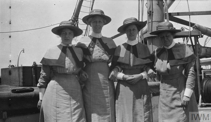 Group of Queen Alexandra's Imperial Military Nursing Service sisters on board of one of the hospital ships, probably on the way to Egypt.