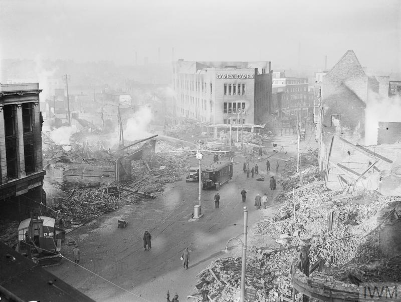 Bomb damage in the centre of Coventry after the devastating German air raid on the night of 14 November 1940.