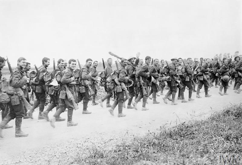 Troops of the 10th (Service) Battalion (1st Hull), East Yorkshire Regiment marching to the trenches near Doullens, 28 June 1916.