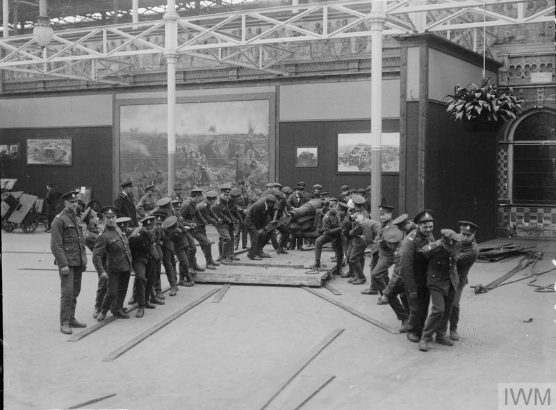 Men of the Royal Army Ordnance Corps moving trophies into the Imperial War Museum, Crystal Palace.