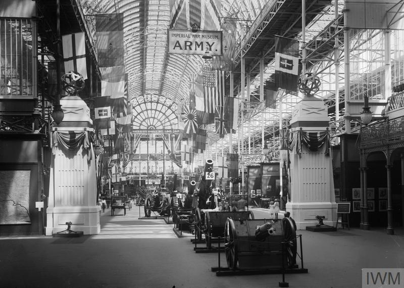 View of the army section display, Imperial War Museum, Crystal Palace, 1920.