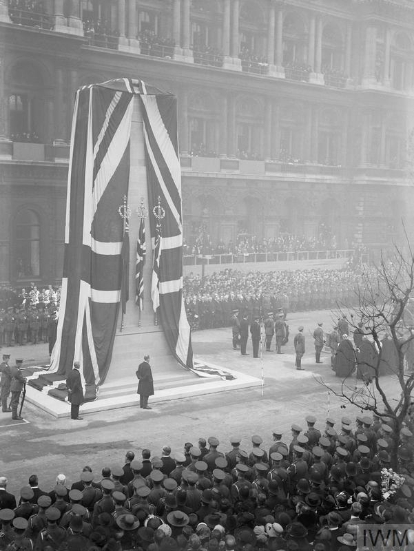 The unveiling of the permanent Cenotaph at Whitehall, by King George V, 11 November 1920