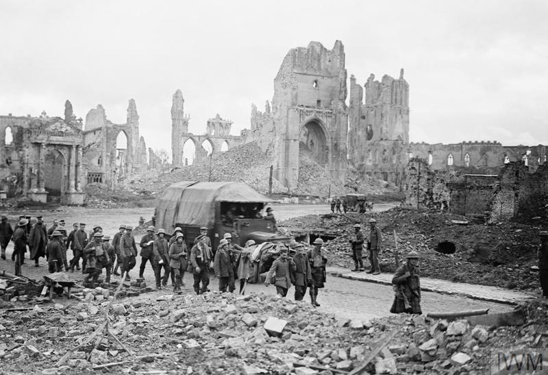 German prisoners being marched through Cathedral Square, Ypres, during the Battle of the Menin Road Ridge, 20th September 1917.