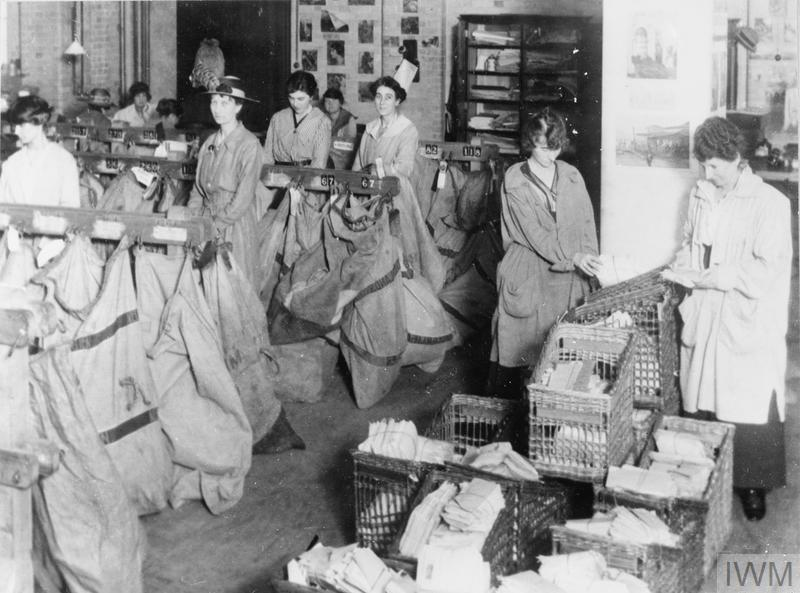 Women sorting newly arrived mail for despatch to the various censorship departments.