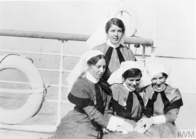 QAIMNS NURSES ON BOARD HS BRITANNIC SHORTLY BEFORE IT WAS SUNK DURING THE FIRST WORLD WAR
