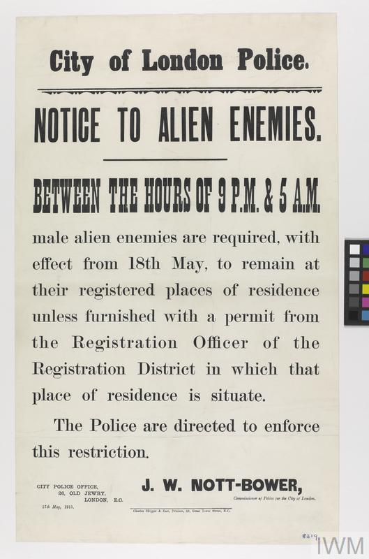 Poster, Notice to Alien Enemies, 1914.