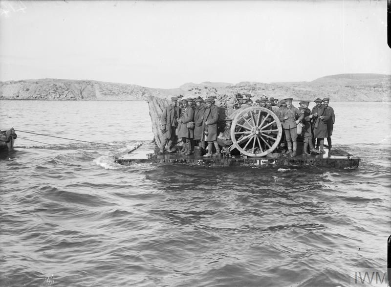 Evacuating guns and personnel from Suvla Point on rafts, December 1915.