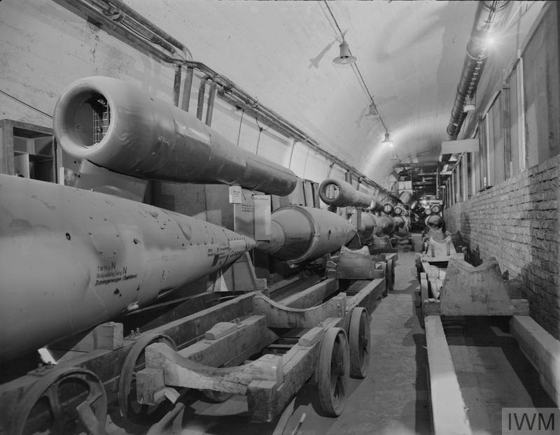 Production line of Fiesler Fi 103 flying bombs at the Central Works , a vast underground production plant at Nordhausen in the Harz Mountains, Germany, following its capture by Allied troops. Production of the V1s numbered 32,000; by March 1945, when the sites were finally overrun by the Allied armies, some 5,500 V1s, each carrying a one-ton warhead, had reached Britain.