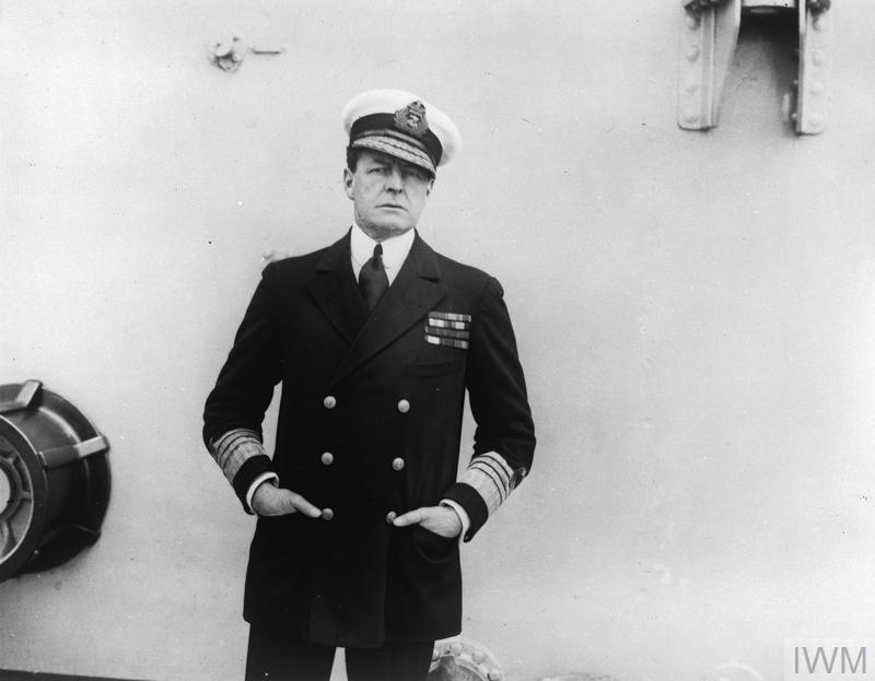 Admiral David Beatty, posing deliberately for the camera with his hat at its famous 'Beatty tilt', shortly after his appointment as the Commander-in-Chief of the Grand Fleet.