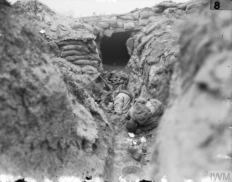 Albert 1 - 13 July: Two German dead in a front line trench.