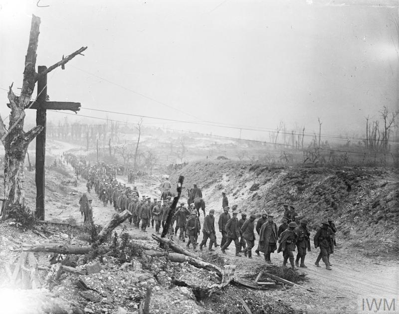 Battle of Bazentin Ridge. A long line of German prisoners being marched into Fricourt.