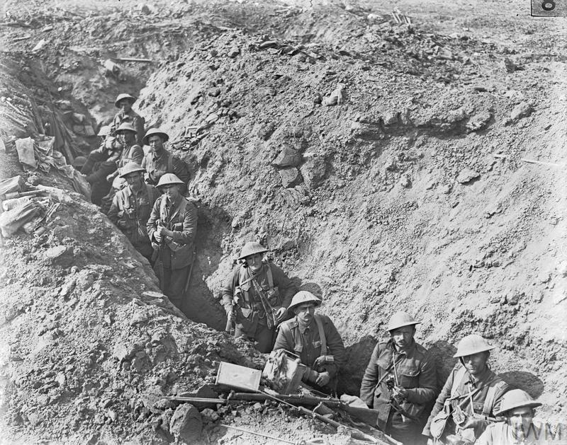 The Battle of Flers Courcelette 15 -22 September: Men of the 2nd Auckland Battalion (New Zealand) in a switch trench near Flers.