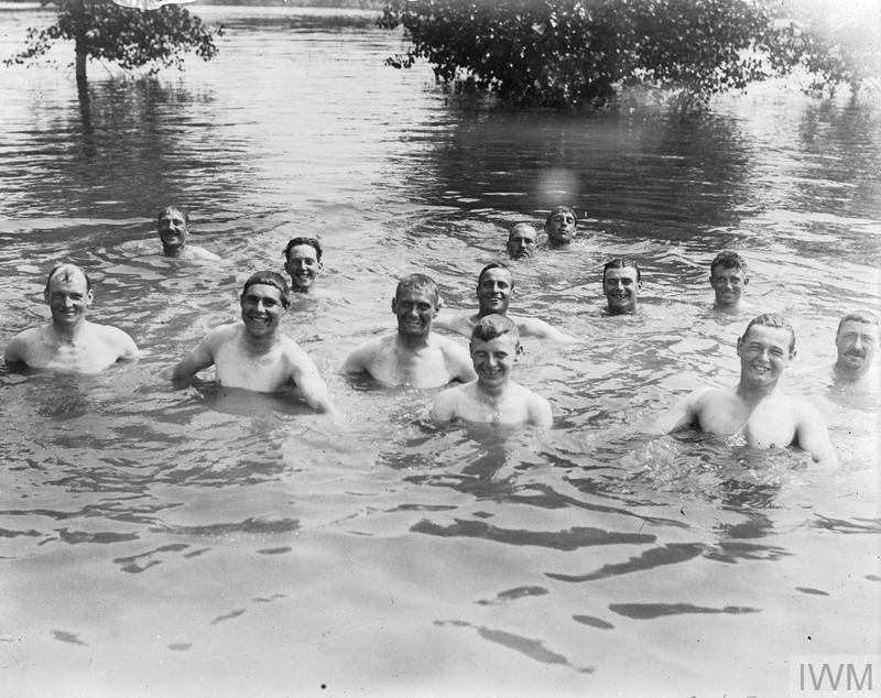 British soldiers bathing near Aveluy Wood, August 1916.