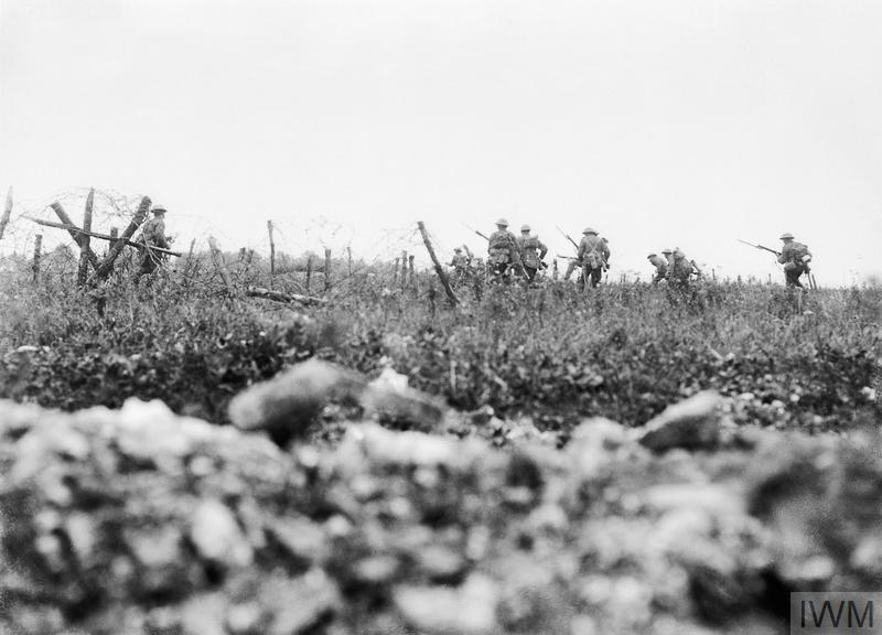 Men of the Wiltshire Regiment advancing to the attack through the wire, Thiepval, 7 August 1916.