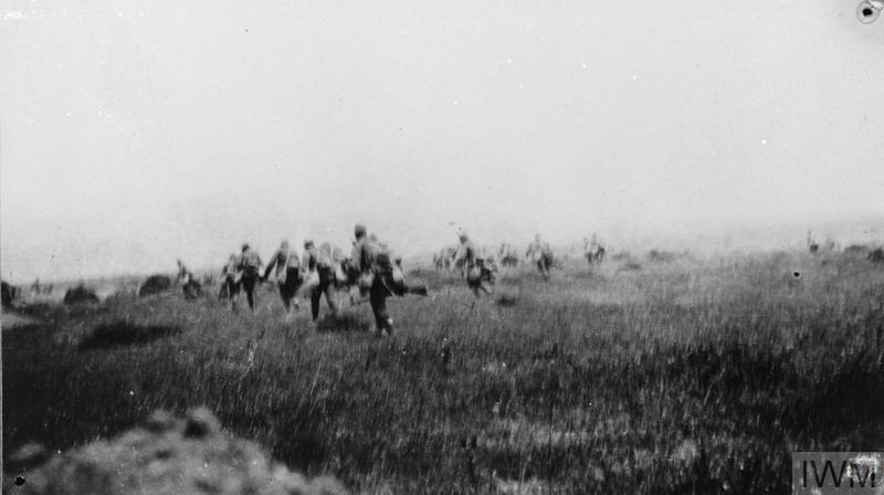The 6th Battalion, Manchester Regiment advancing over open terrain during the Third Battle of Krithia, Gallipoli.
