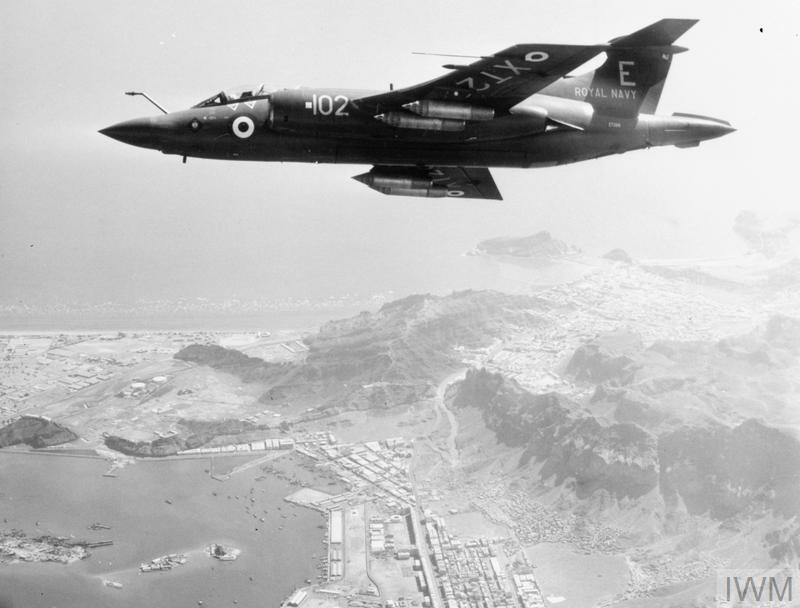 A Blackburn Buccaneer aircraft of 800 Naval Air Squadron from HMS EAGLE on patrol over Aden and Khormaksar airfield, during the withdrawal of British troops on 29 November 1967.