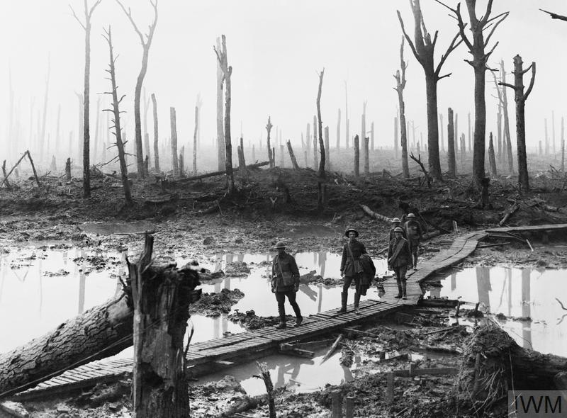 Australian troops walk along a duckboard track through the remains of Chateau Wood, Third Battle of Ypres (Passchendaele)